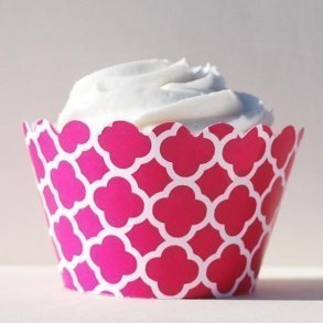 Fuchsia Spanish Tile Cupcake Wrappers- Pack of 12