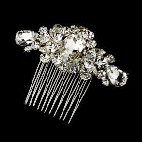 Glittering Silver Crystal Bridal Hair Comb