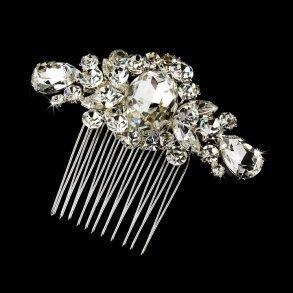 Glittering Silver Crystal Bridal Hair Comb