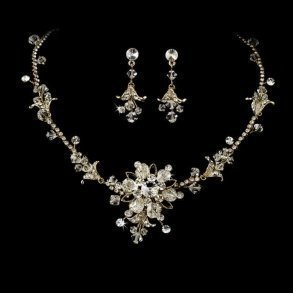 Gold Crystal Bridal Jewellery Set