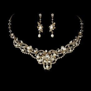 Gold Freshwater Pearl & Crystal Jewellery Set