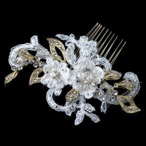 Gold & Ivory Lace Floral Bridal Comb