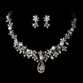 Gold Pearl & Crystal Bridal Jewellery Necklace Set