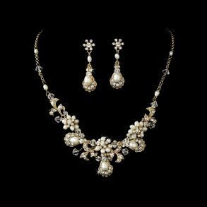 Gold Pearl Vintage Bridal Necklace Set