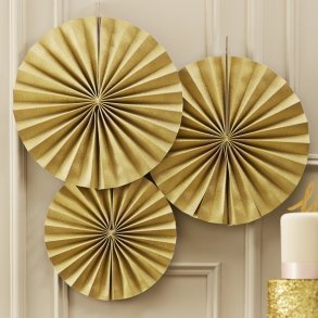 Gold Sparkle Pinwheel Fan Decorations
