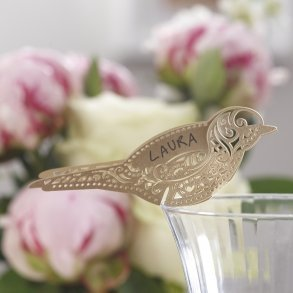 Gold Vintage Lace Bird Place Cards
