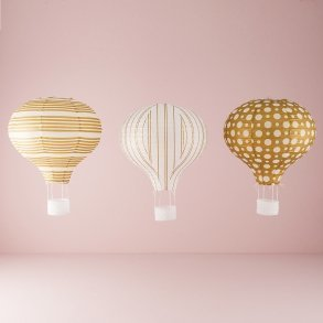 Gold & White Hot Air Balloon Paper Lantern Set