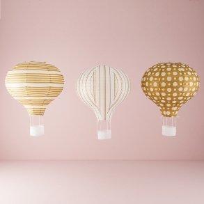 Gold & White Hot Air Balloon Paper Lantern Set