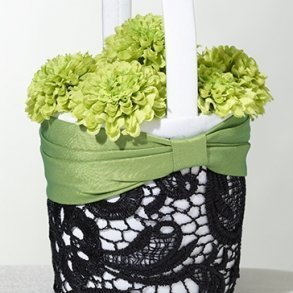 Green & Black Lace Flower Girl Basket