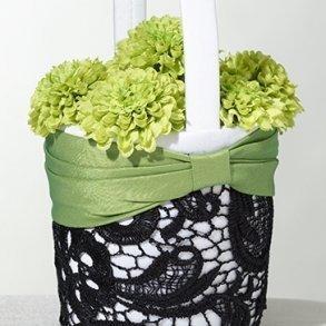 Green & Black Lace Flower Girl Basket