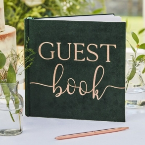 Dark Green Velvet & Rose Gold Foil Guest Book