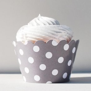 Grey Polka Dot Cupcake Wrappers