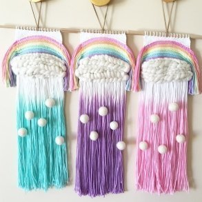 Pastel Rainbow Weave Wall Hangings Kids Decor