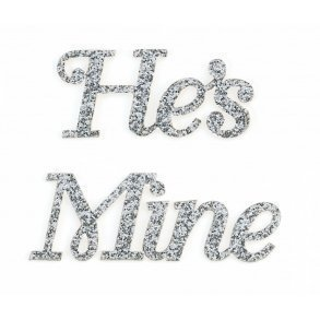 He's Mine Silver Glitter Shoe Sticker