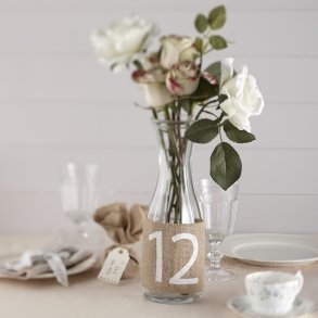 Hessian Burlap Table Number Wraps