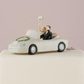 """Honeymoon Bound"" Couple in Car Wedding Cake Topper"