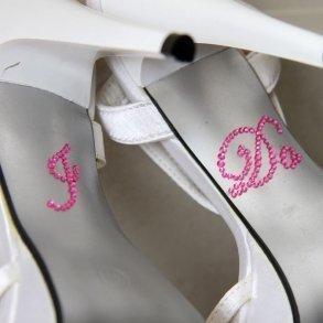Hot Pink Rhinestone 'I Do' Shoe Stickers