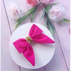 Hot Pink & Gold Sparkle Baby Bow Hair Clip or Headband