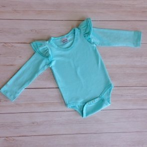 Ice Blue Long Sleeve Flutter Onesie