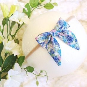 Isla Blue Floral Baby Bow Headband or Clip