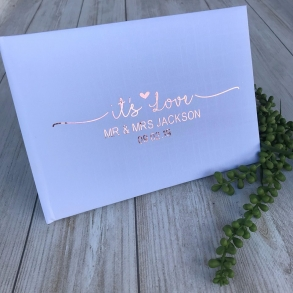 """It's Love"" Personalised Mr & Mrs Wedding Guest Book"