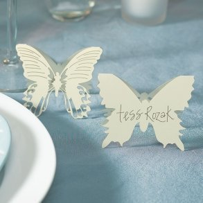 Ivory Laser Expressions Butterfly Folded Place Card