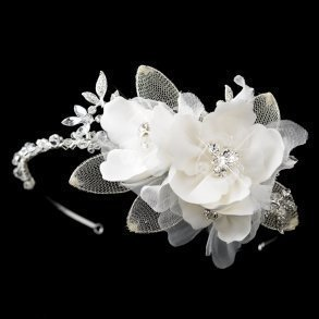 Ivory Fabric Flower & Swarovski Crystal Headband