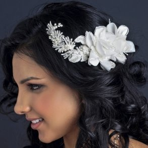 Ivory Floral Bridal Comb With Pearls & Rhinestones