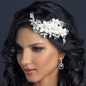 Ivory Floral Fabric Bridal Comb With Pearls & Crystals