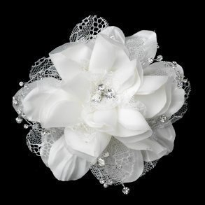 Off White Floral Lace Bridal Hair Clip