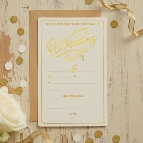 Ivory & Gold Foil Wedding Invitations - 10 pack
