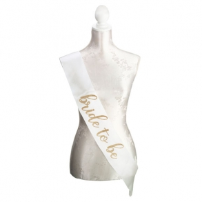 Ivory & Gold Glitter Satin Bride To Be Sash