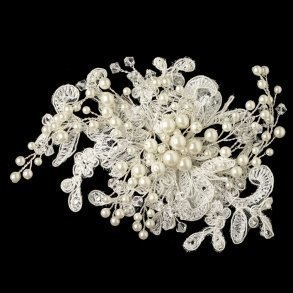 Ivory Lace & Pearl Wedding Hair Clip