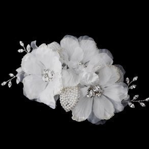 Ivory Rhinestone Flower Bridal Hair Comb