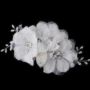 Ivory Rhinestone Flower Bridal Hair Comb