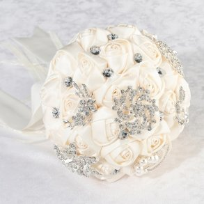 Ivory Satin Rose Artificial Wedding Bouquet With Bling