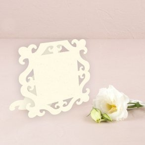 Ivory Laser Expressions Square Baroque Frame Folded Place Card