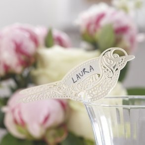 Ivory Vintage lace Bird Place Cards