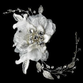 Ivory Vintage Lace Flower Bridal Hair Comb