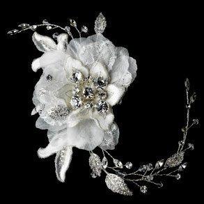 Ivory Vintage Lace Flower Bridal Hair Comb