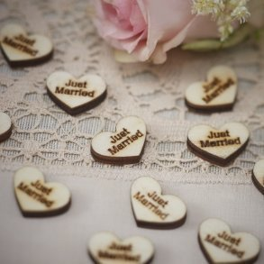 Just Married Wooden Heart Confetti