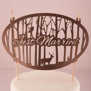 Just Married Woodland Wood Veneer Cake Topper