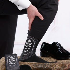 Keep Calm & Say I Do Mens Wedding Socks