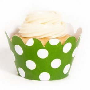 Green Polka Dot Mini Cupcake Wrappers - Pack of 18