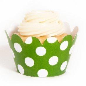 Green Polka Dot Mini Cupcake Wrappers - Pack of 18