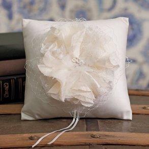 La Fleur Collection Ivory Floral Ring Pillow