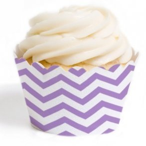 Lavender Chevron Cupcake Wrappers - Pack of 12