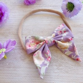 Lavender Floral Bow Headband or Clip