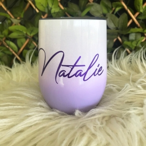Purple Ombre Personalised Insulated Wine Tumbler Cup 12oz
