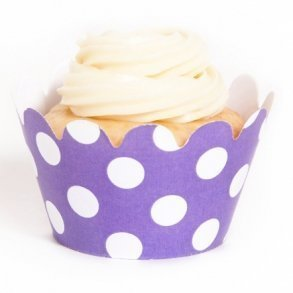 Lavender Polka Dot Mini Cupcake Wrappers - Pack of 18
